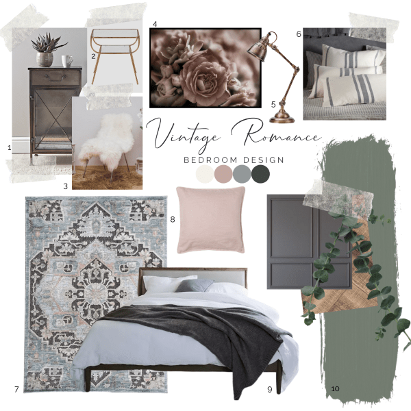 Design board for a romantic vintage bedroom with furniture options, bedding and lighting