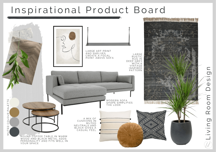 interior design product board for living room interior with sofa rug and cushions