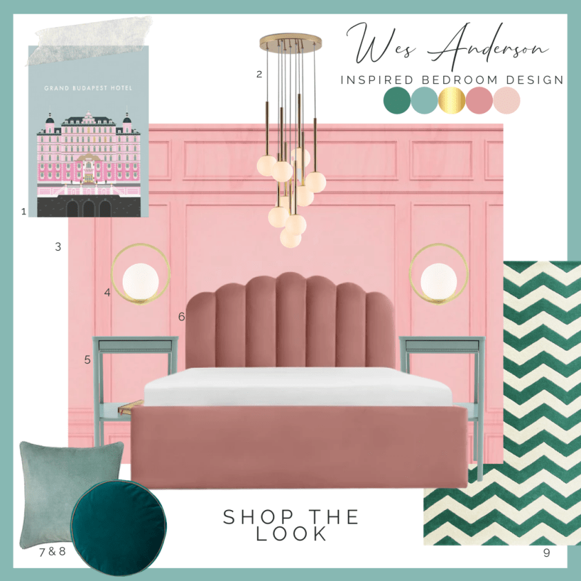 interior design moodboard with pink bed and blue bedside tables