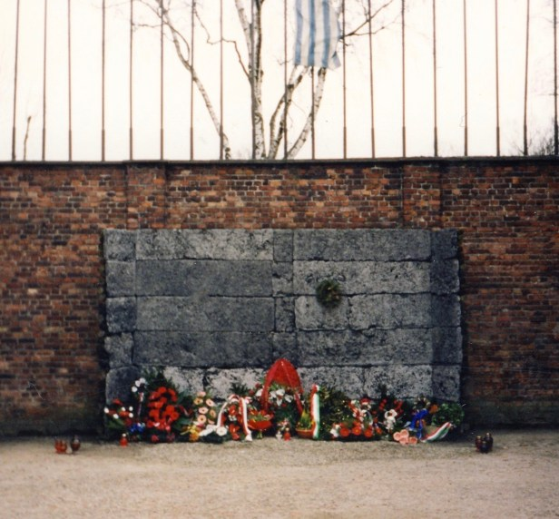 Memorial wall Auschwitz Birkenau memorial and museum Oswiecim Poland