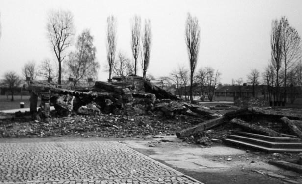 Ruined building Auschwitz Birkenau memorial and museum Oswiecim Poland
