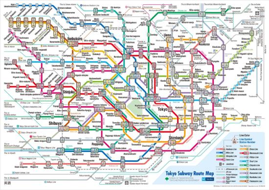 Tokyo Subway System Map.