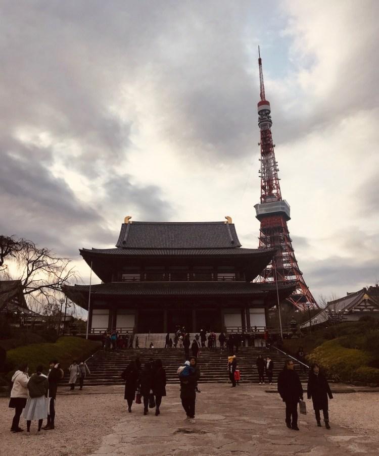 Zojoji Temple and Tokyo Tower Japan.