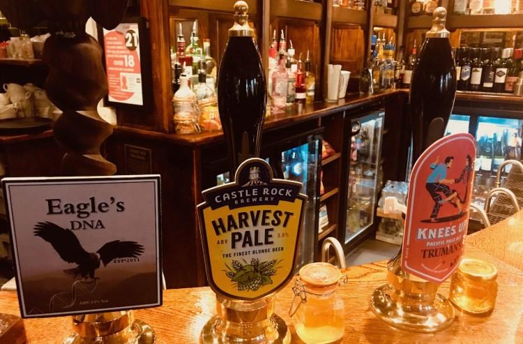The bar at The Eagle Pub Cambridge.