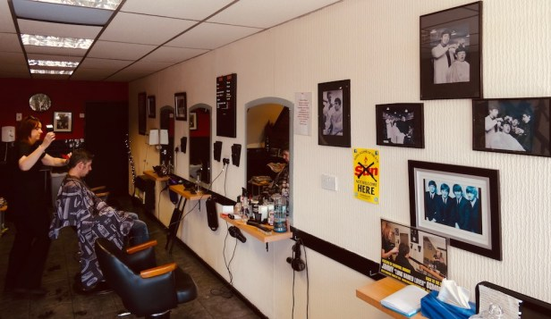 Inside Tony Slavin Barber Shop Penny Lane.