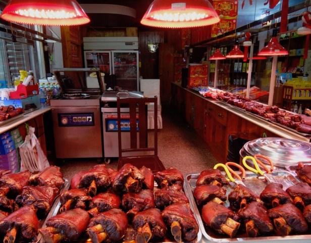 Pork shanks Tongli Water Town Suzhou China.