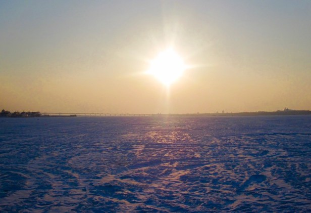 The frozen Songhua River Harbin China.