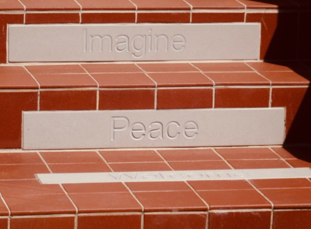 The Imagine Peace steps at 9 Newcastle Road Liverpool.