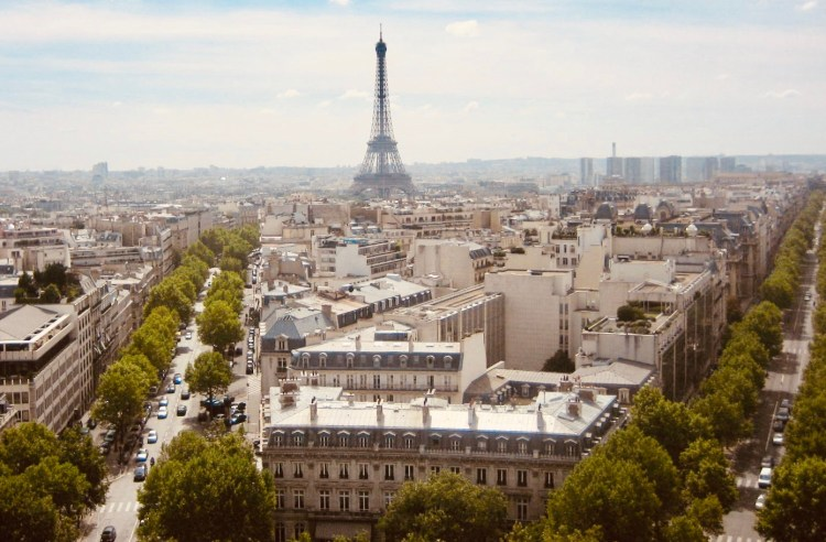 View of The Eiffel Tower from Arc De Triomphe Paris.