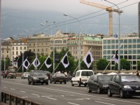 Very strange and eerie flags on the bridge of Mont Blanc in Geneva