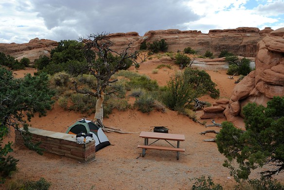 Site #4 at Devil's Garden campground in Arches National Park.