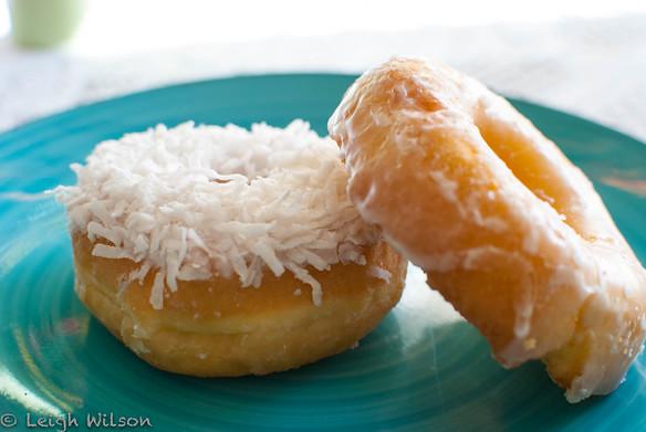 Amy's DonutsVanilla Coconut and Glazed Cake Donut