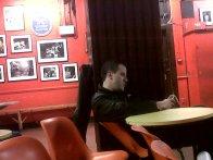 Rom, pre-gig, at the 100 Club, London