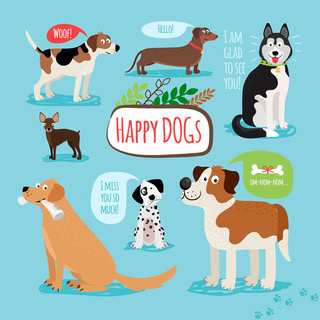 44941658 - vector cartoon hand drawn dogs with speech bubbles