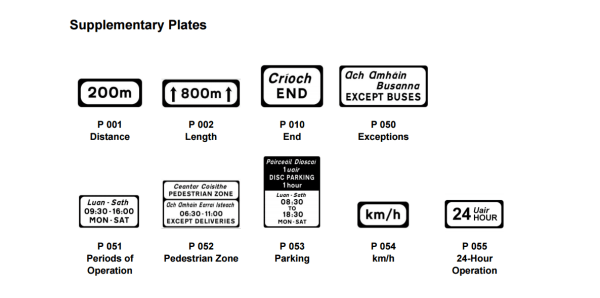 regulatory road signs, supplementary plates, traffic signs ireland