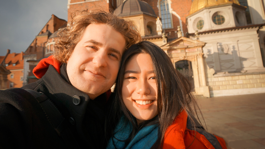 Eva and Wolfram fell in love during her exchange and backpacking in Europe. Photo courtesy of Eva Lee.