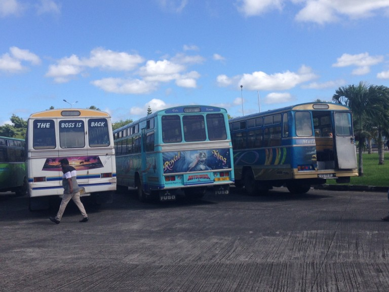 Part of the fleets of colorful and creative buses of Mauritius. (Photo: Ana Ribeiro)