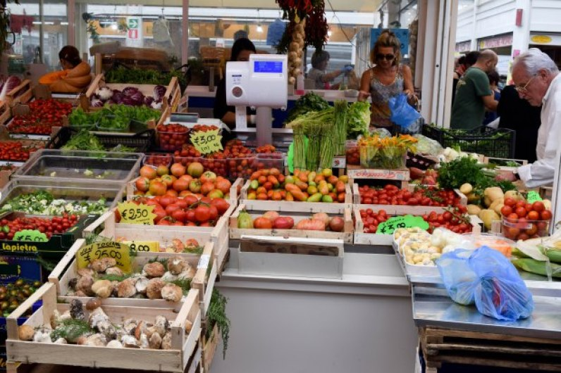 Fresh ingredients at Rome's Testaccio Market. (Photo courtesy of Becky Markovitz)