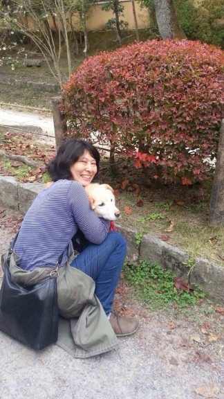 Kazuyo, one of my spontaneous guides in Japan, and her dog Aisa, or Love. (Photo: Helena Flam)