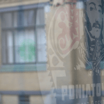 Poniatowski logo against glass. (Photo: Maeshelle West-Davies)