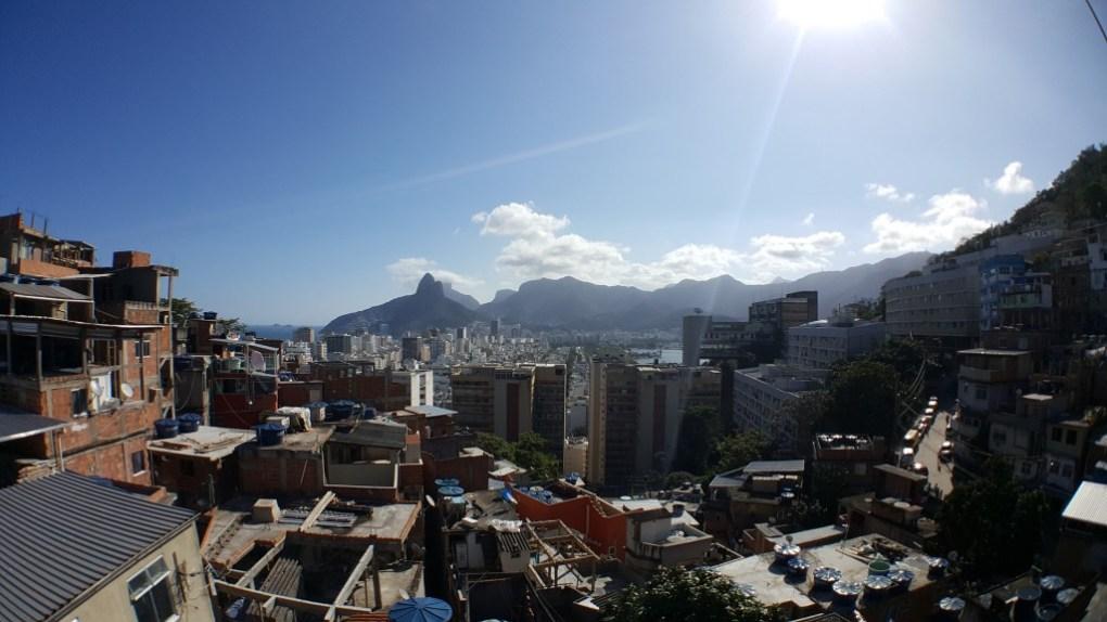 Favelas and natural beauty in Rio de Janeiro, Brazil.