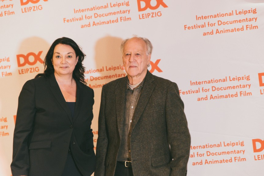 Werner Herzog and DOK Leipzig director Leena Pasanen at CineStar, 29 Oct 2018. (Photo: Justina Smile Photography)