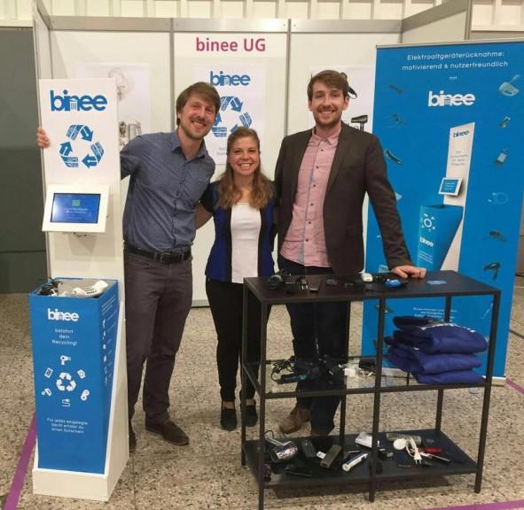 binee co-founders Martin Jaehnert (left), Marilu Valente and Florian Eidner. (Photo courtesy of Marilu Valente)