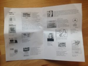 """Pamphlet from """"Welcome, President!"""" by Rafael Pagatini (2015-16), inkjet printing on haini paper."""