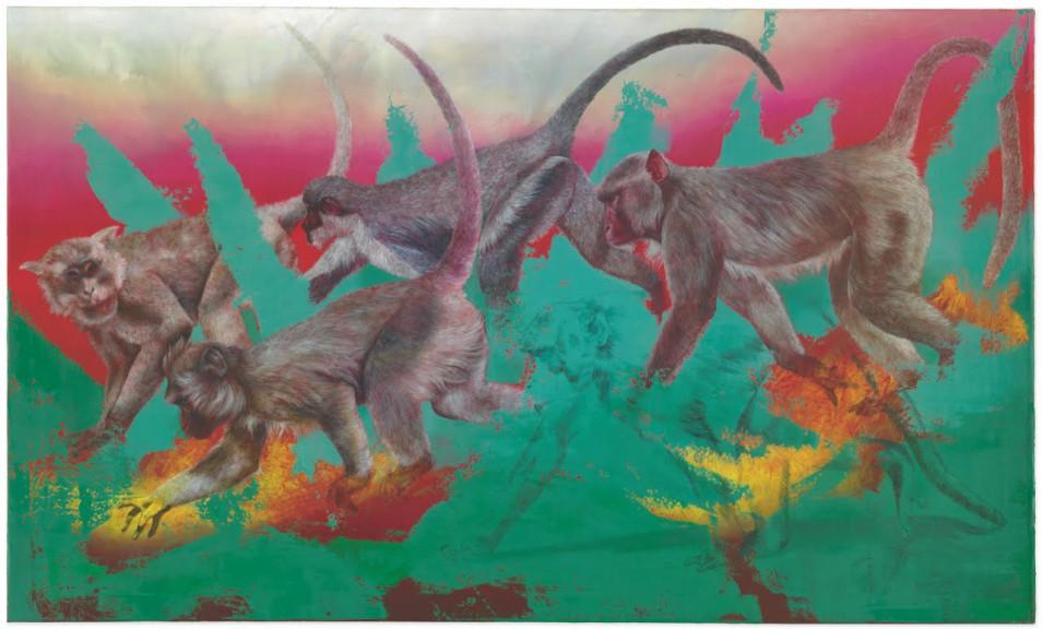 Isabelle Dutoit Affen (nach Franz Marc) 2, 2019, oil on canvas, 90 x 150 cm