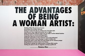 Guerrilla Girls at SheBAM! gallery, photo courtesy of gallery
