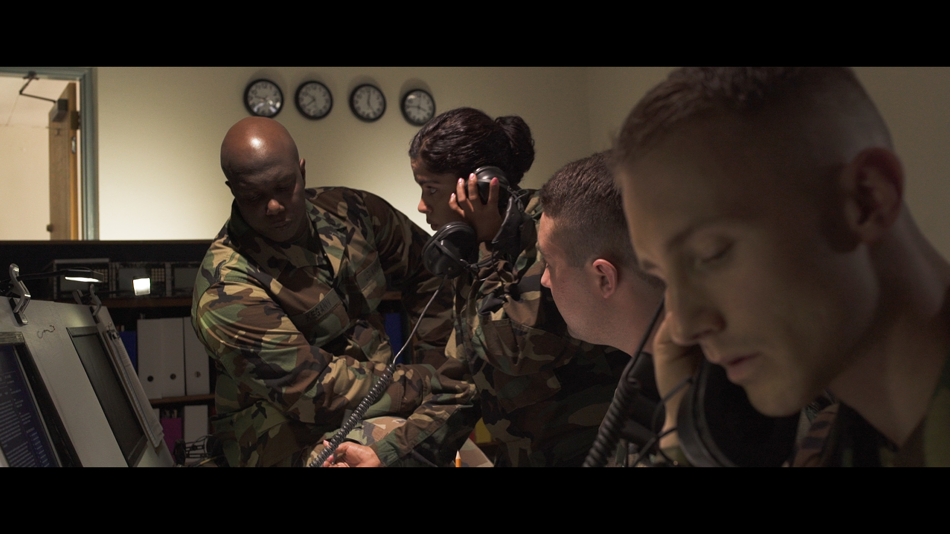 Marines on the Operations Floor in the short film Satellite Drop.