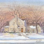 Watercolor painting of Tudor style home in Grand Rapids, MI