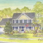 House portrait painting of modern home in Silver Spring, MD