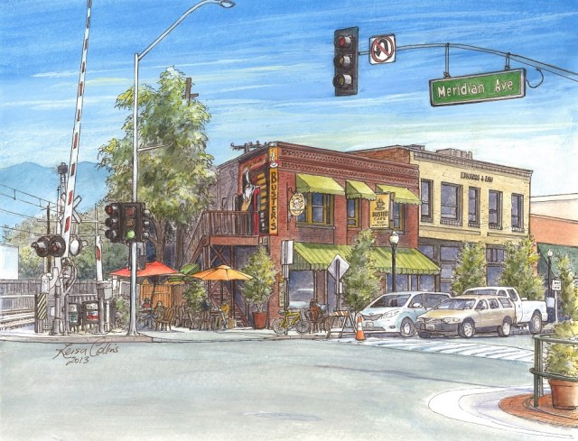 My painting of Busters on Mission Street, South Pasadena