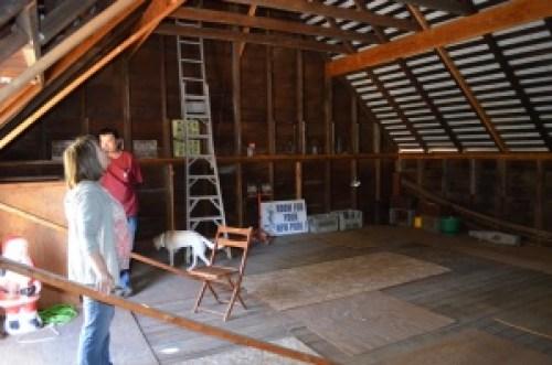 The upper floor of the barn