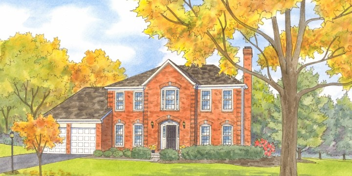 Watercolor Homes and Gardens Celebrating Autumn