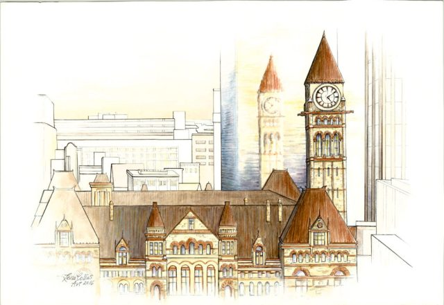 OPTArchitectural-Fusion-Old-City-Hall-Toronto-Pen-Watercolor-13-x-19-inches-on-paper-1