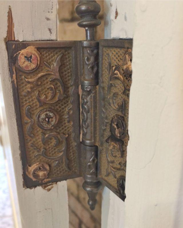 One of the Victorian door hinges