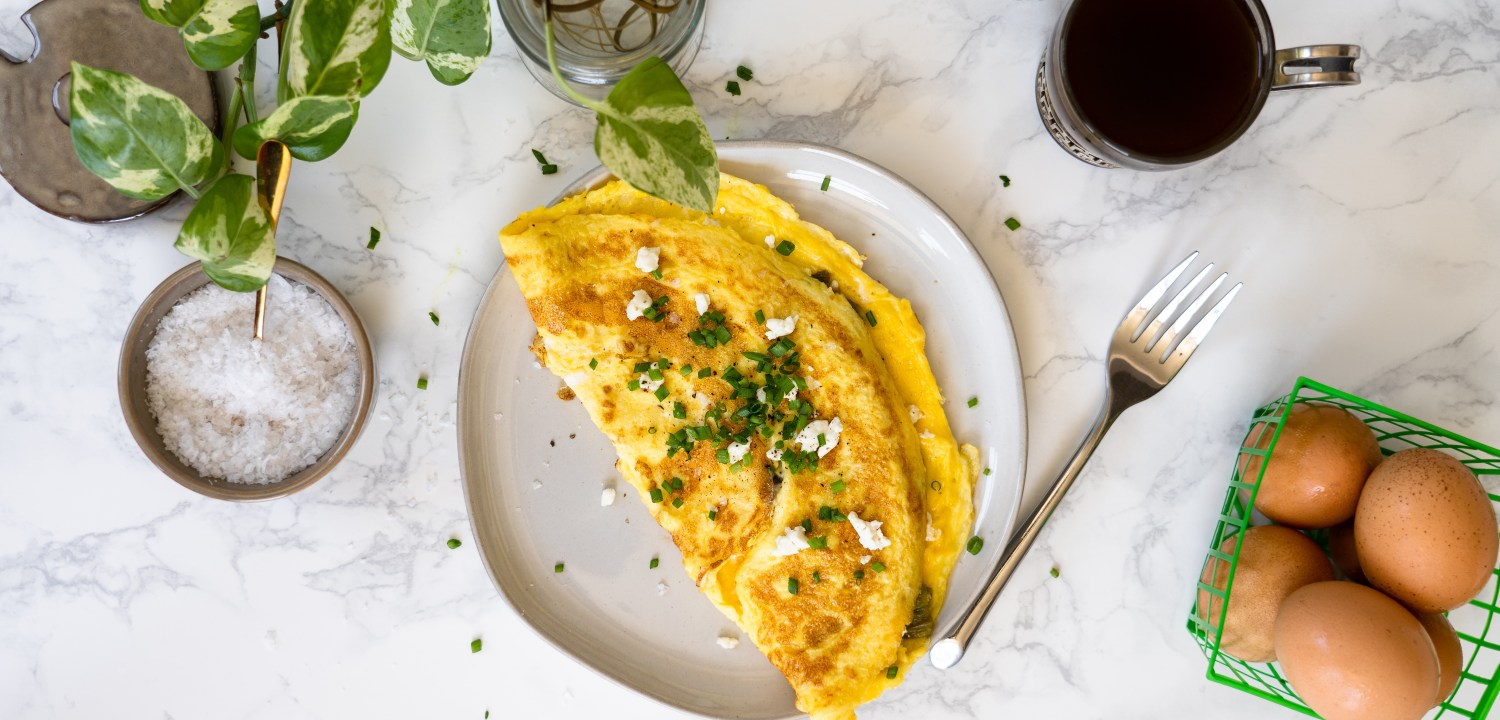 Hatch Chile and Honey Goat Cheese Omelette