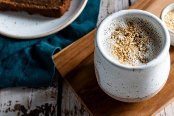 Header shot of halvah latte.
