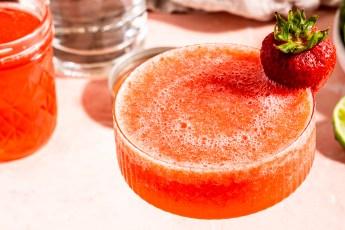 Header shot of a strawberry rhubarb margarita
