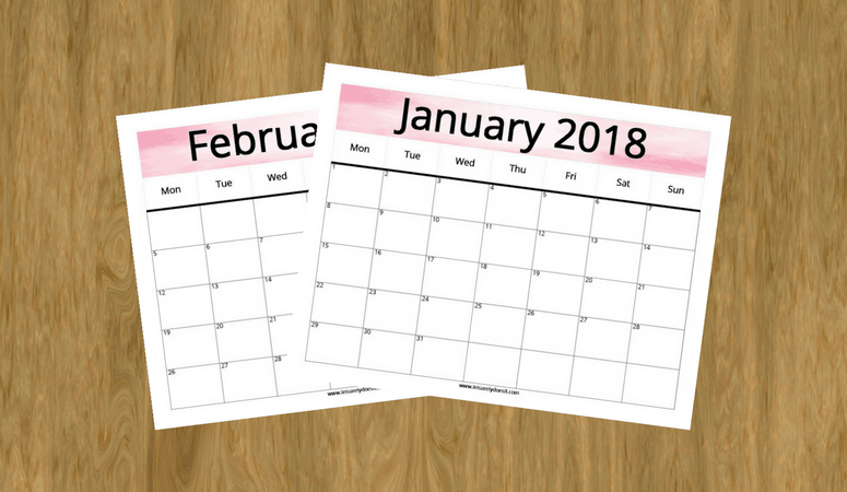 It's Here! Download Your Free Printable 2018 Monthly Calendar