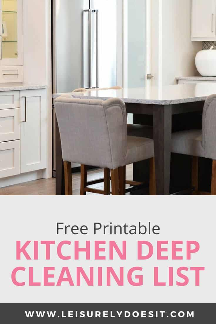 Free Printable Kitchen Deep Cleaninig List