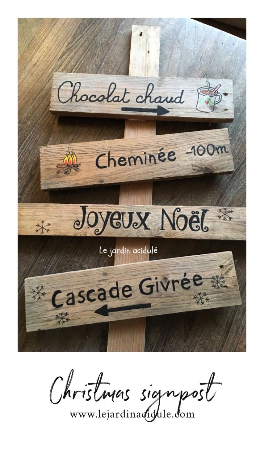 Christmas Signpost Panneau Indicateur Pour Le Père Noël Le