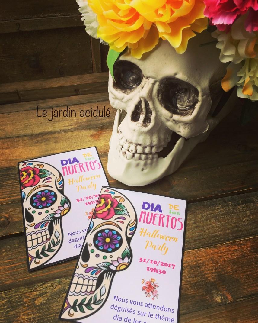 Invitation dia de los muertos pour Halloween