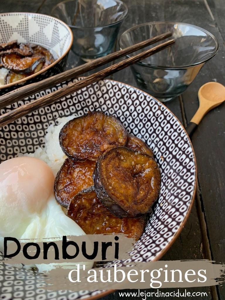 Donburi d'aubergines caramélisées à la sauce soja