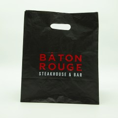 0.07mm high density PE bag with a 2-colour print, expertly executed on a black background.