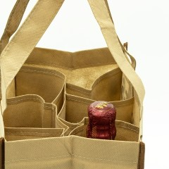 non-woven reusable bag with a  twist. This bag features a collapsible 6 bottle divider and contrast piping. The cardboard bottom and interior strap that's the same length at the bag creates extra support for heavier items. These bags can be used to carry wine bottles, do regular shopping and more.