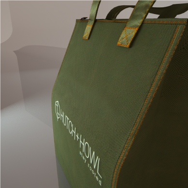 green cooler bag showing detail of bag material and stitching