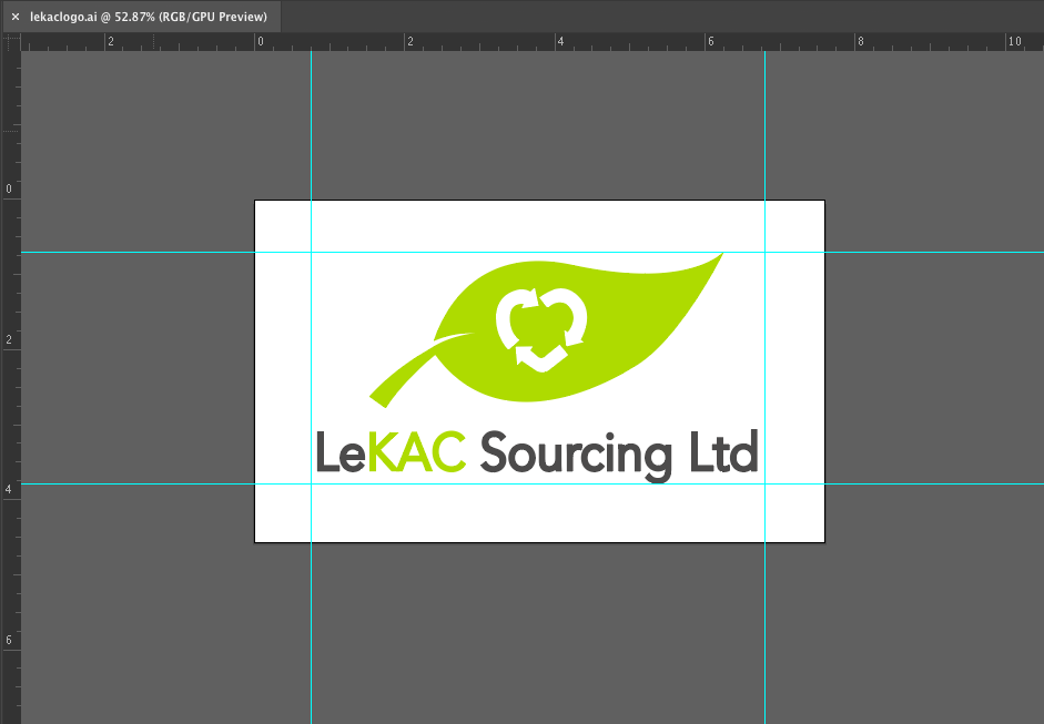 screenshot of adobe illustrator with LeKAC logo opened, with ruler lines and logo entered on dartboard to show graphics usage